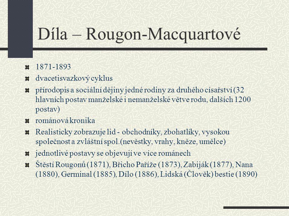 Díla – Rougon-Macquartové 1871-1893 dvacetisvazkový cyklus přírodopis a sociální dějiny jedné rodiny za druhého císařství (32 hlavních postav manželsk