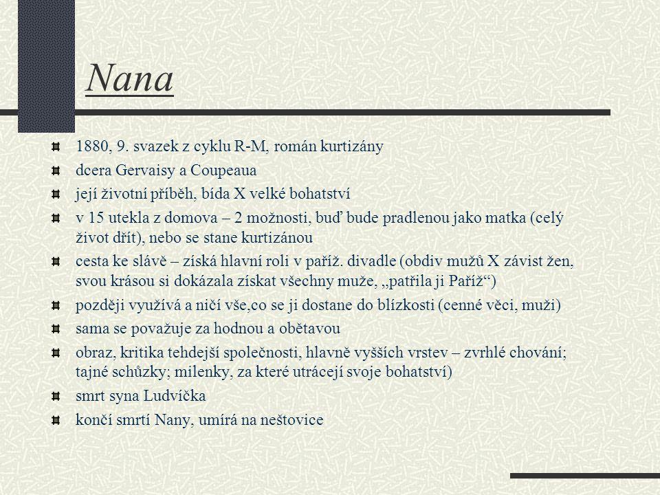 Nana 1880, 9. svazek z cyklu R-M, román kurtizány dcera Gervaisy a Coupeaua její životní příběh, bída X velké bohatství v 15 utekla z domova – 2 možno
