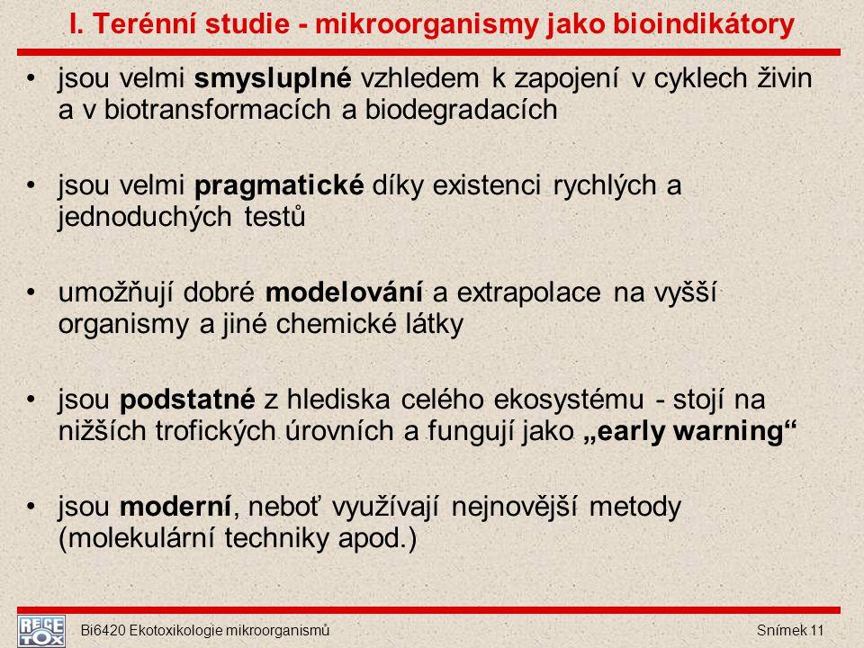 Bi6420 Ekotoxikologie mikroorganismů Snímek 11 I. Terénní studie - mikroorganismy jako bioindikátory jsou velmi smysluplné vzhledem k zapojení v cykle