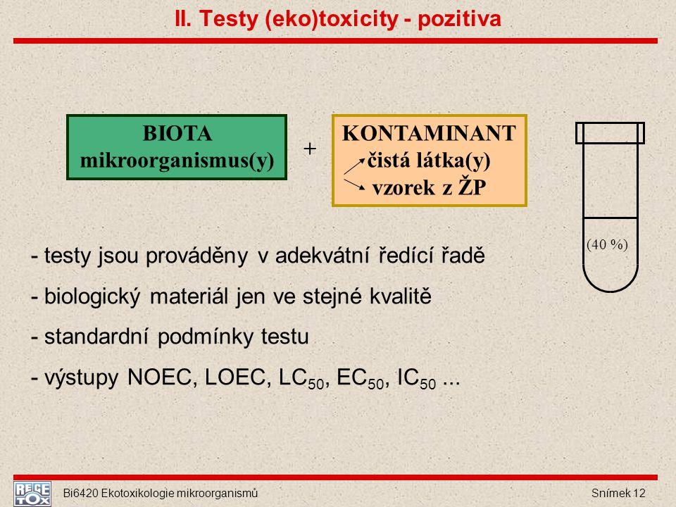 Bi6420 Ekotoxikologie mikroorganismů Snímek 12 BIOTA mikroorganismus(y) + KONTAMINANT čistá látka(y) vzorek z ŽP (40 %) - testy jsou prováděny v adekv