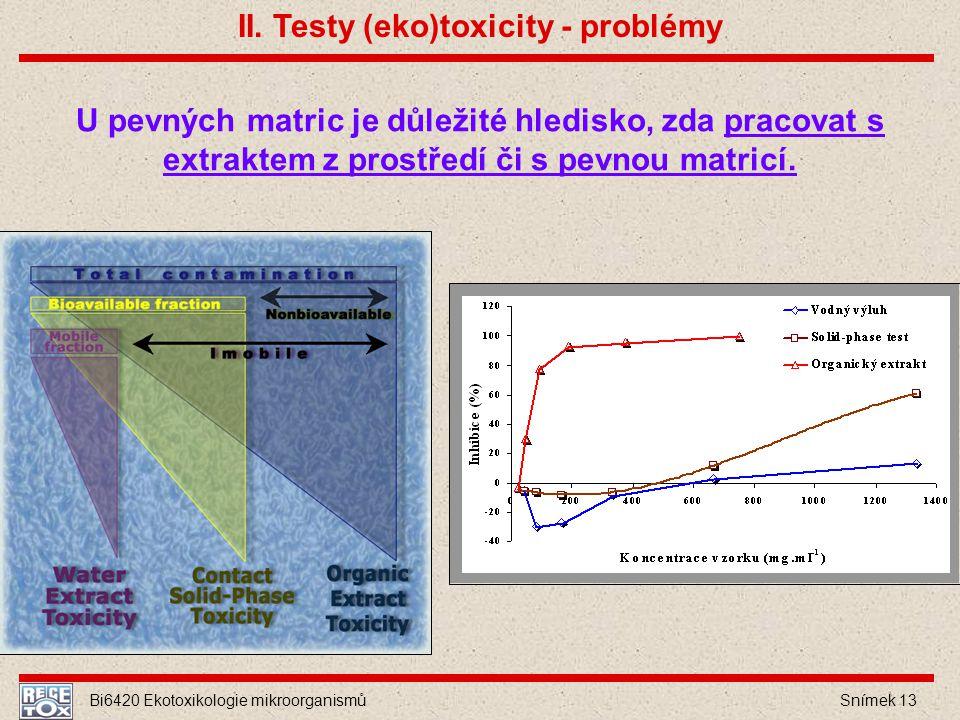 Bi6420 Ekotoxikologie mikroorganismů Snímek 13 U pevných matric je důležité hledisko, zda pracovat s extraktem z prostředí či s pevnou matricí. II. Te