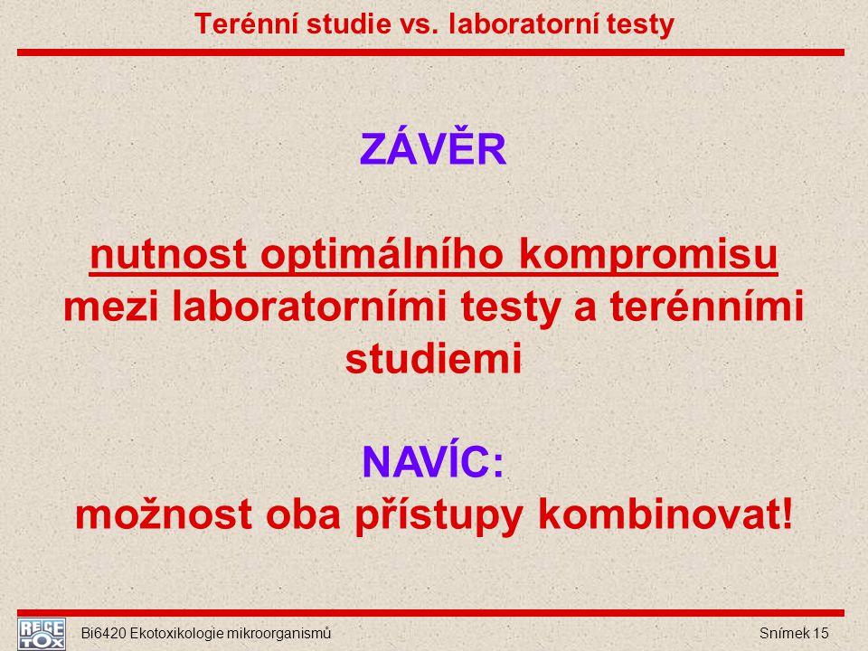 Bi6420 Ekotoxikologie mikroorganismů Snímek 15 ZÁVĚR nutnost optimálního kompromisu mezi laboratorními testy a terénními studiemi NAVÍC: možnost oba p