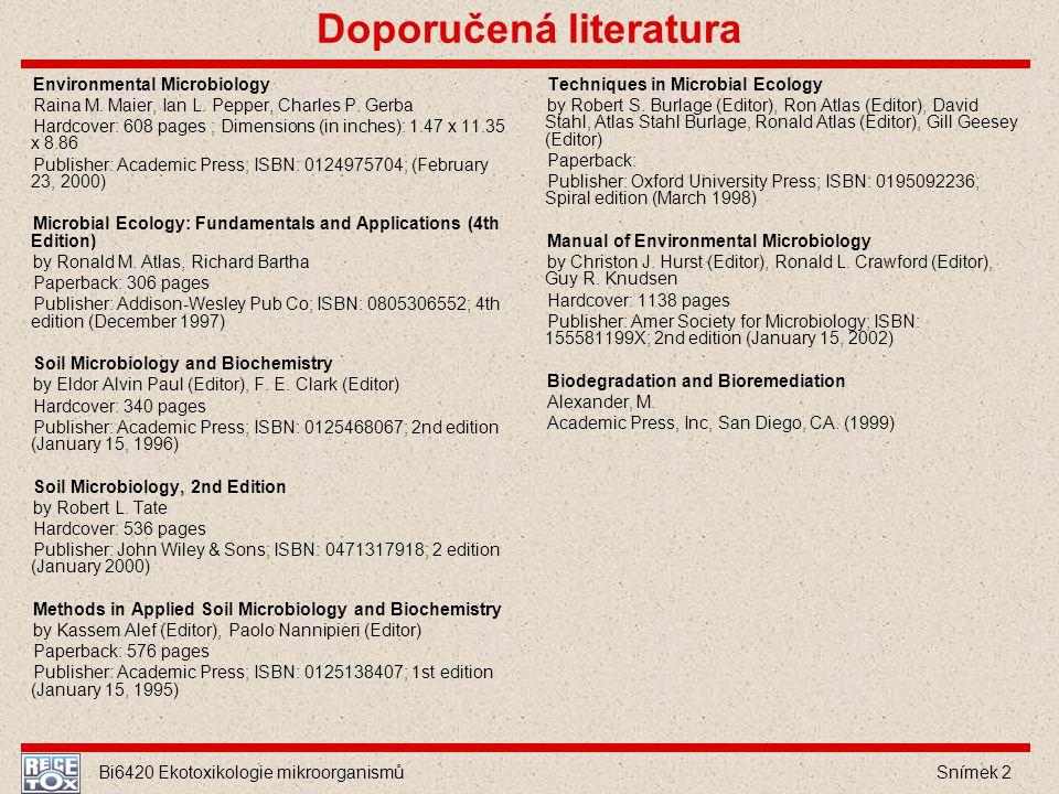 Bi6420 Ekotoxikologie mikroorganismů Snímek 2 Doporučená literatura Environmental Microbiology Raina M. Maier, Ian L. Pepper, Charles P. Gerba Hardcov