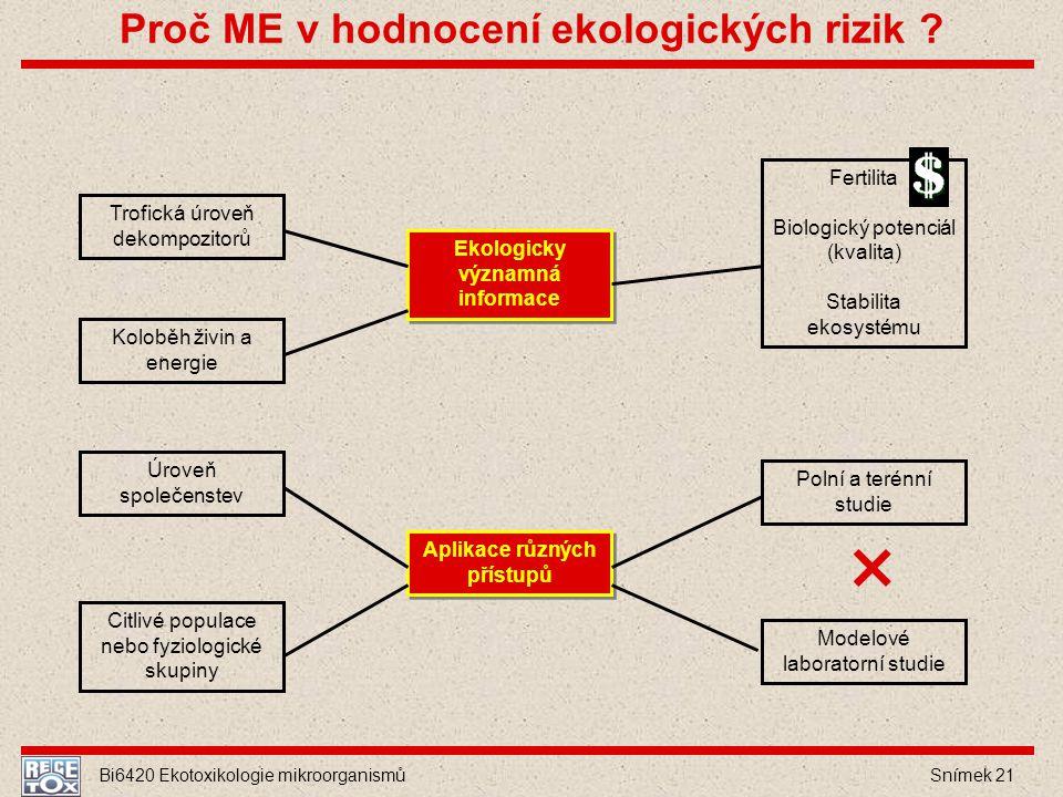 Bi6420 Ekotoxikologie mikroorganismů Snímek 21 Ekologicky významná informace Aplikace různých přístupů Trofická úroveň dekompozitorů Koloběh živin a e
