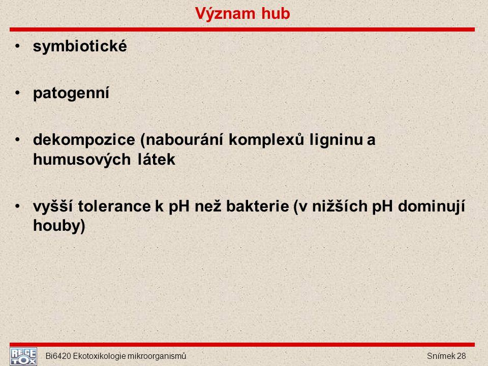Bi6420 Ekotoxikologie mikroorganismů Snímek 28 Význam hub symbiotické patogenní dekompozice (nabourání komplexů ligninu a humusových látek vyšší toler