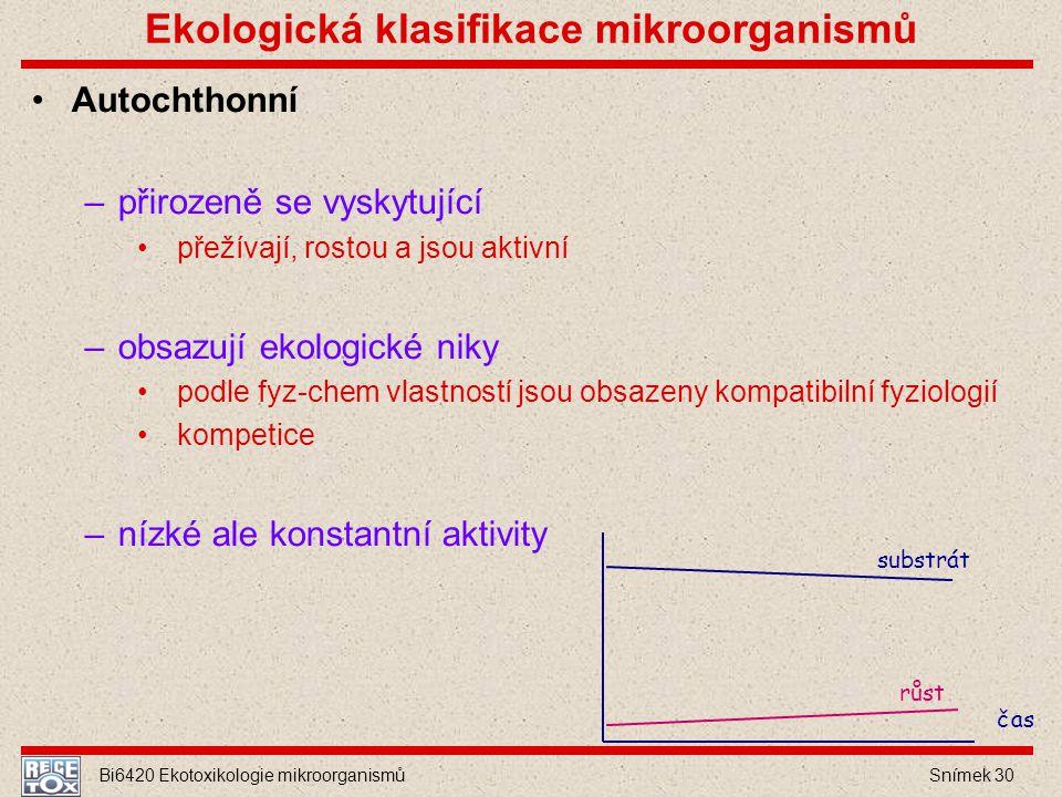 Bi6420 Ekotoxikologie mikroorganismů Snímek 30 Ekologická klasifikace mikroorganismů Autochthonní –přirozeně se vyskytující přežívají, rostou a jsou a