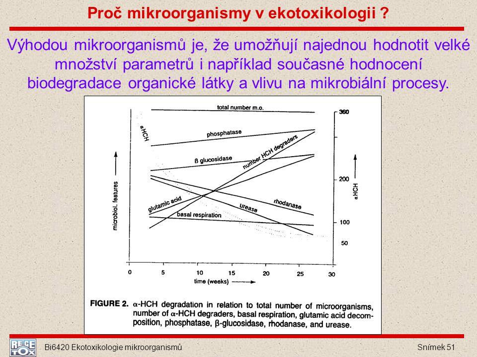 Bi6420 Ekotoxikologie mikroorganismů Snímek 51 Výhodou mikroorganismů je, že umožňují najednou hodnotit velké množství parametrů i například současné