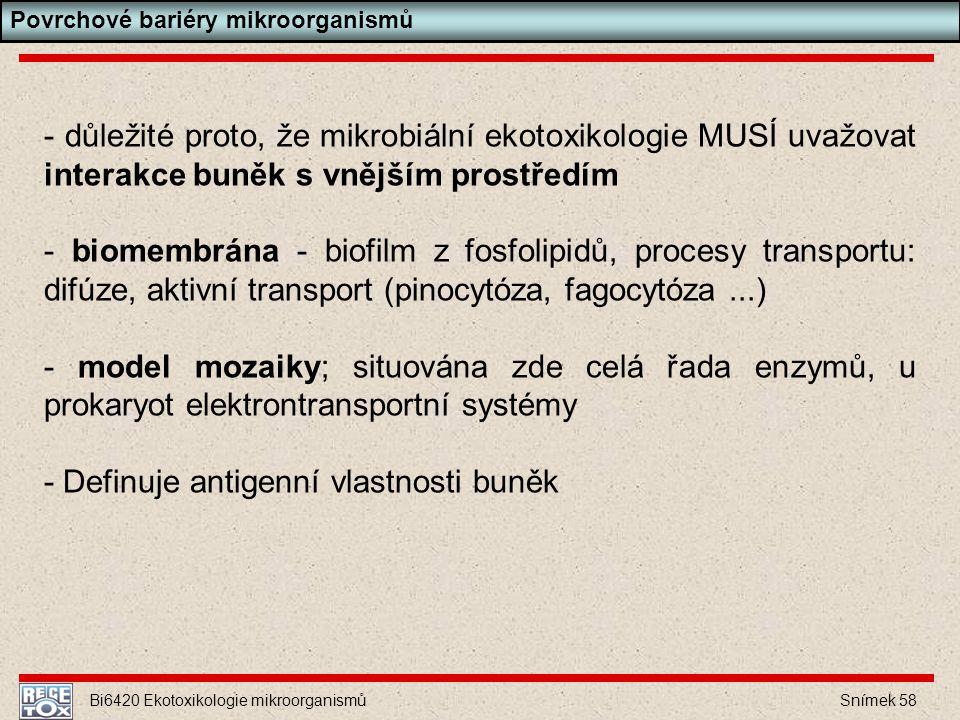 Bi6420 Ekotoxikologie mikroorganismů Snímek 58 - důležité proto, že mikrobiální ekotoxikologie MUSÍ uvažovat interakce buněk s vnějším prostředím - bi
