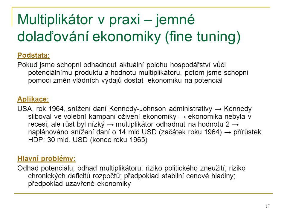 17 Multiplikátor v praxi – jemné dolaďování ekonomiky (fine tuning) Podstata: Pokud jsme schopni odhadnout aktuální polohu hospodářství vůči potenciál