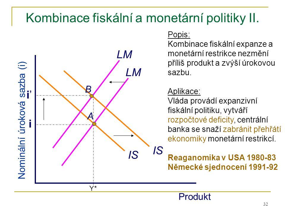 32 Kombinace fiskální a monetární politiky II. IS LM Produkt Nominální úroková sazba (i) LM Popis: Kombinace fiskální expanze a monetární restrikce ne