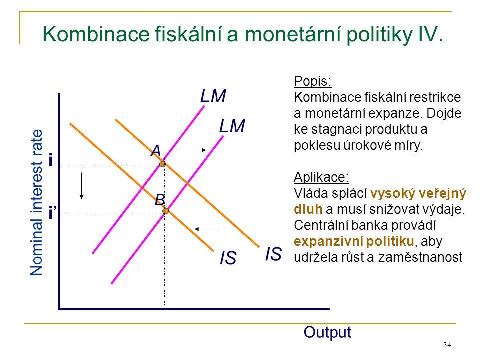 34 Kombinace fiskální a monetární politiky IV. IS LM Output Nominal interest rate LM Popis: Kombinace fiskální restrikce a monetární expanze. Dojde ke