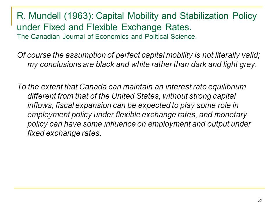 59 R. Mundell (1963): Capital Mobility and Stabilization Policy under Fixed and Flexible Exchange Rates. The Canadian Journal of Economics and Politic