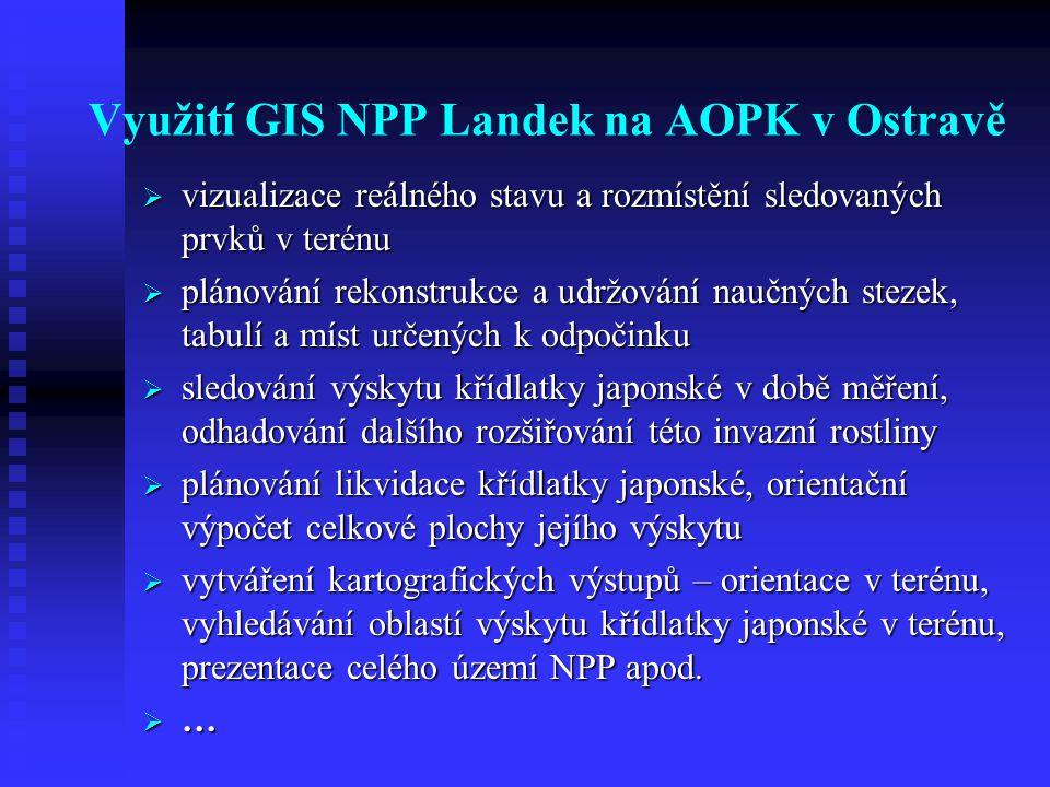 Využití GIS NPP Landek na AOPK v Ostravě  vizualizace reálného stavu a rozmístění sledovaných prvků v terénu  plánování rekonstrukce a udržování naučných stezek, tabulí a míst určených k odpočinku  sledování výskytu křídlatky japonské v době měření, odhadování dalšího rozšiřování této invazní rostliny  plánování likvidace křídlatky japonské, orientační výpočet celkové plochy jejího výskytu  vytváření kartografických výstupů – orientace v terénu, vyhledávání oblastí výskytu křídlatky japonské v terénu, prezentace celého území NPP apod.