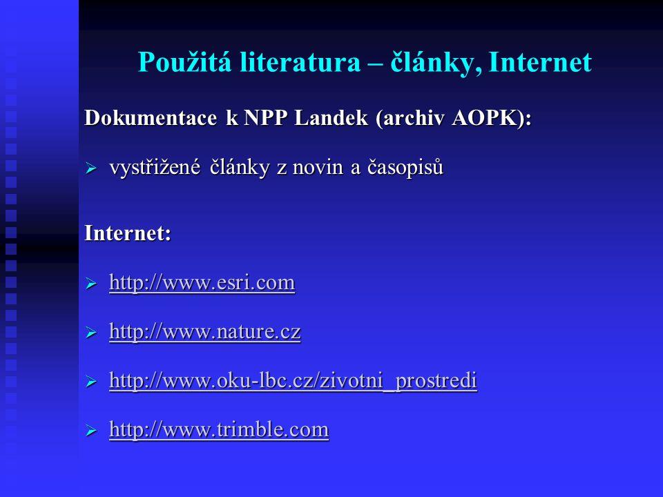 Použitá literatura – články, Internet Dokumentace k NPP Landek (archiv AOPK):  vystřižené články z novin a časopisů Internet:  http://www.esri.com http://www.esri.com  http://www.nature.cz http://www.nature.cz  http://www.oku-lbc.cz/zivotni_prostredi http://www.oku-lbc.cz/zivotni_prostredi  http://www.trimble.com http://www.trimble.com