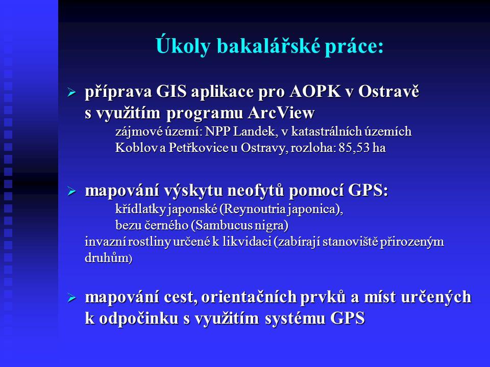 Vstupy bakalářské práce:1/2 (pro vytvoření GIS NPP Landek)  naskenovaná, zaregistrovaná a zvektorizovaná katastrální mapa území NPP Landek (získaná z MMO prostřednictvím AOPK)  hodnoty naměřené pomocí GPS (potřeba získat v terénu)