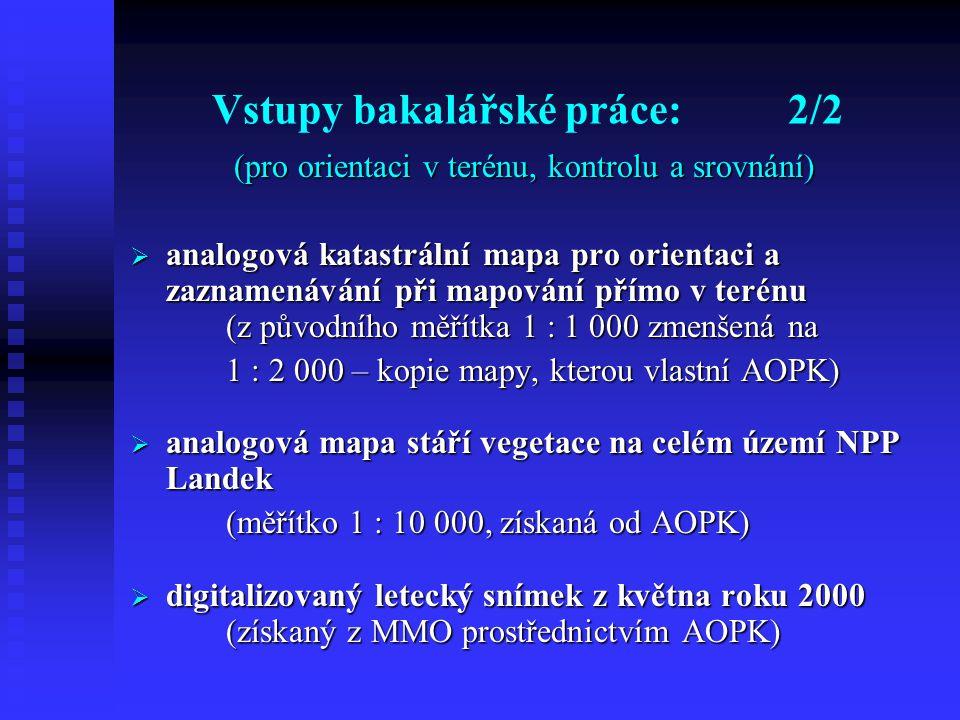Vstupy bakalářské práce:2/2 (pro orientaci v terénu, kontrolu a srovnání)  analogová katastrální mapa pro orientaci a zaznamenávání při mapování přímo v terénu (z původního měřítka 1 : 1 000 zmenšená na 1 : 2 000 – kopie mapy, kterou vlastní AOPK)  analogová mapa stáří vegetace na celém území NPP Landek (měřítko 1 : 10 000, získaná od AOPK)  digitalizovaný letecký snímek z května roku 2000 (získaný z MMO prostřednictvím AOPK)