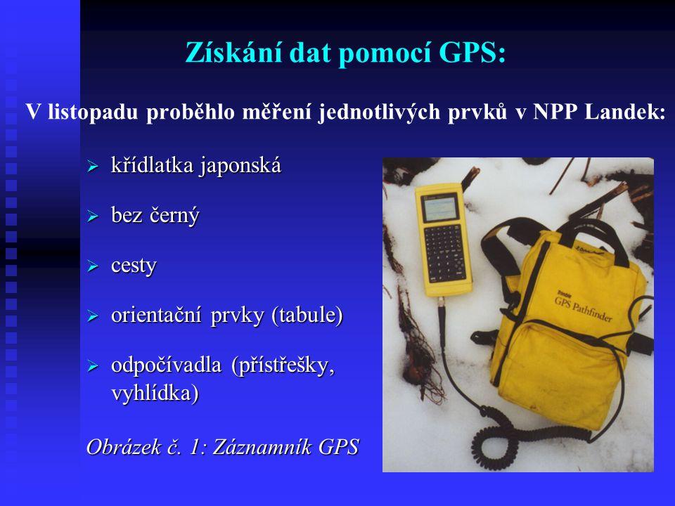 Získání dat pomocí GPS: V listopadu proběhlo měření jednotlivých prvků v NPP Landek:  křídlatka japonská  bez černý  cesty  orientační prvky (tabule)  odpočívadla (přístřešky, vyhlídka) Obrázek č.