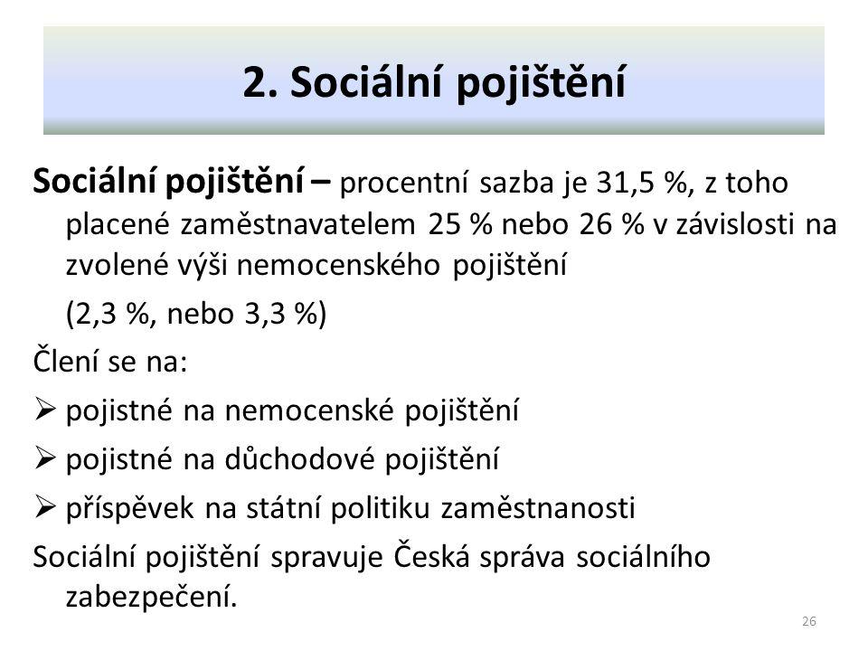 2. Sociální pojištění Sociální pojištění – procentní sazba je 31,5 %, z toho placené zaměstnavatelem 25 % nebo 26 % v závislosti na zvolené výši nemoc