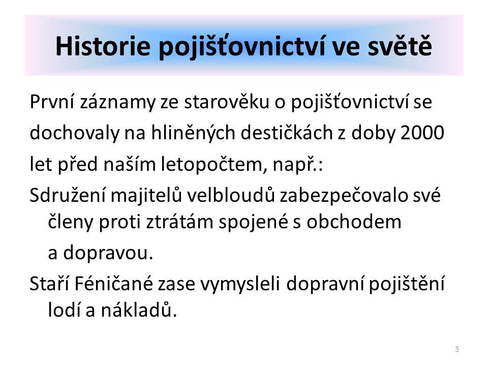 První záznamy ze starověku o pojišťovnictví se dochovaly na hliněných destičkách z doby 2000 let před naším letopočtem, např.: Sdružení majitelů velbl