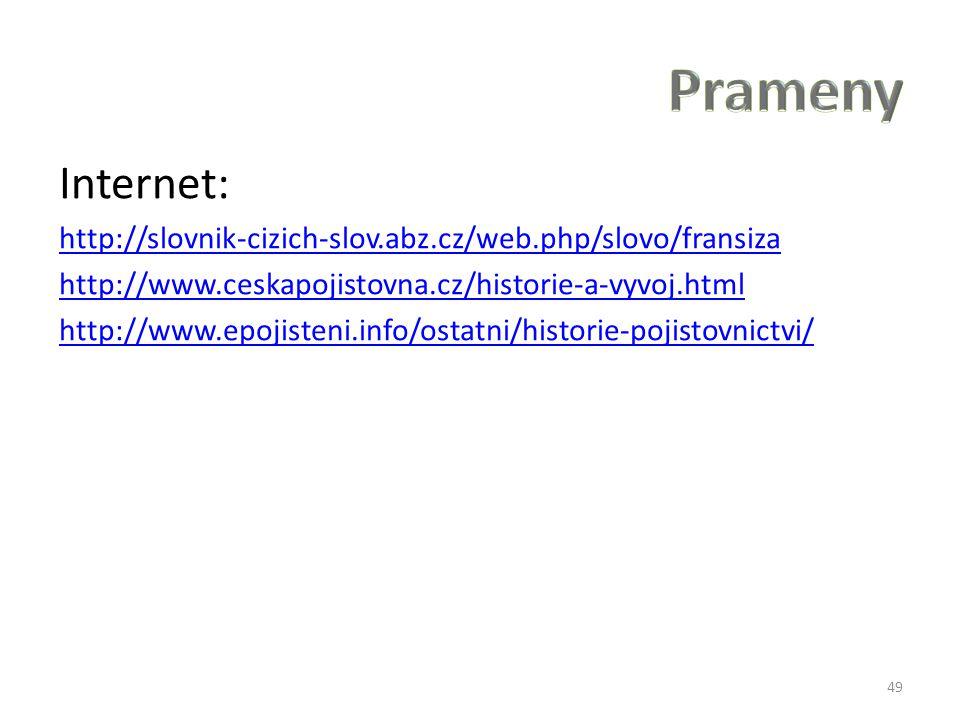Internet: http://slovnik-cizich-slov.abz.cz/web.php/slovo/fransiza http://www.ceskapojistovna.cz/historie-a-vyvoj.html http://www.epojisteni.info/osta