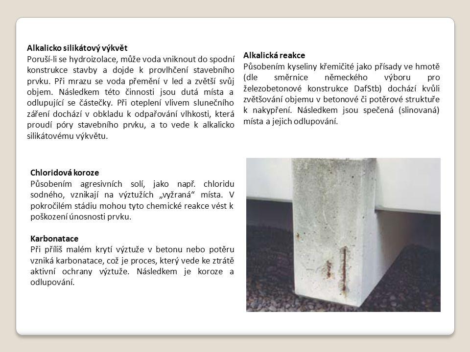 Alkalicko silikátový výkvět Poruší-li se hydroizolace, může voda vniknout do spodní konstrukce stavby a dojde k provlhčení stavebního prvku. Při mrazu