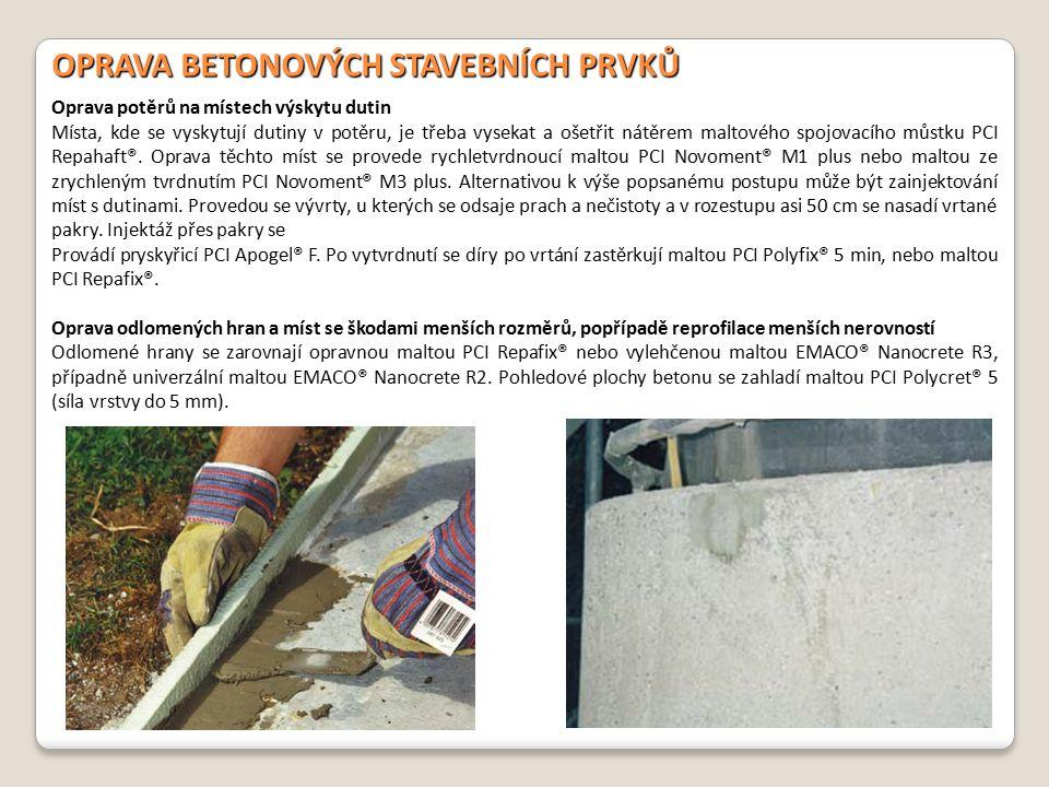 OPRAVA BETONOVÝCH STAVEBNÍCH ČÁSTÍ Oprava betonových svislých lícových ploch (poprsníků) a krakorcových desek Na betonových poprsníkových dílcích a krakorcových deskách se poškozená místa až do hloubky 50 mm opraví nátěrem spojovacího můstku PCI Repahaft®, který se metodou čerstvé do čerstvého prolne s nanášenou vrstvou malty.