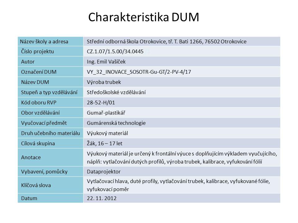 Charakteristika DUM 1 Název školy a adresaStřední odborná škola Otrokovice, tř. T. Bati 1266, 76502 Otrokovice Číslo projektuCZ.1.07/1.5.00/34.0445 /3