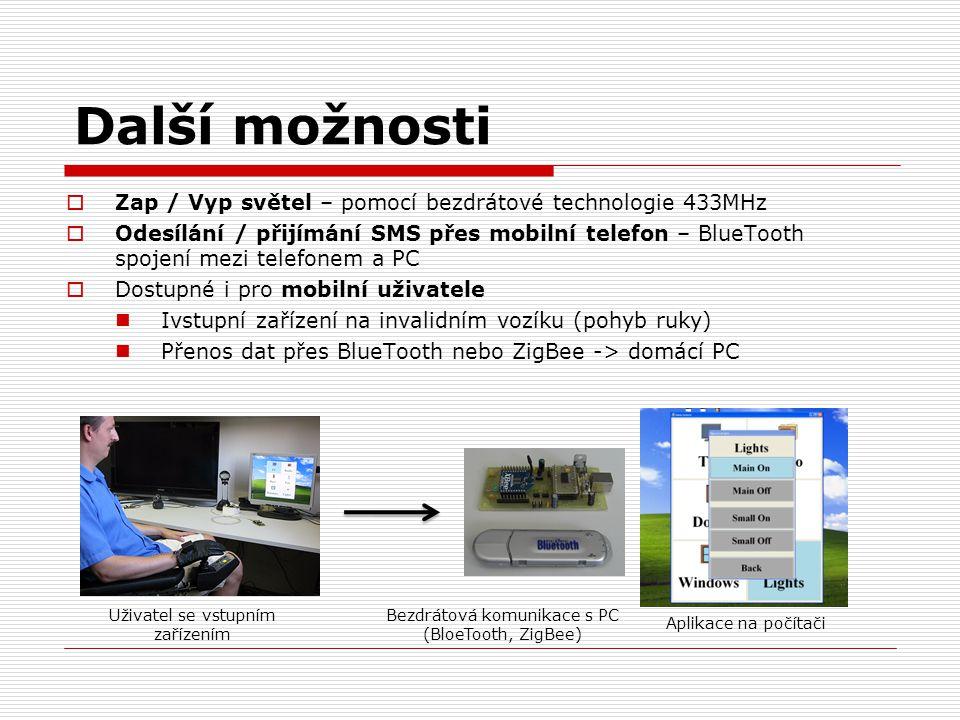 Další možnosti  Zap / Vyp světel – pomocí bezdrátové technologie 433MHz  Odesílání / přijímání SMS přes mobilní telefon – BlueTooth spojení mezi tel