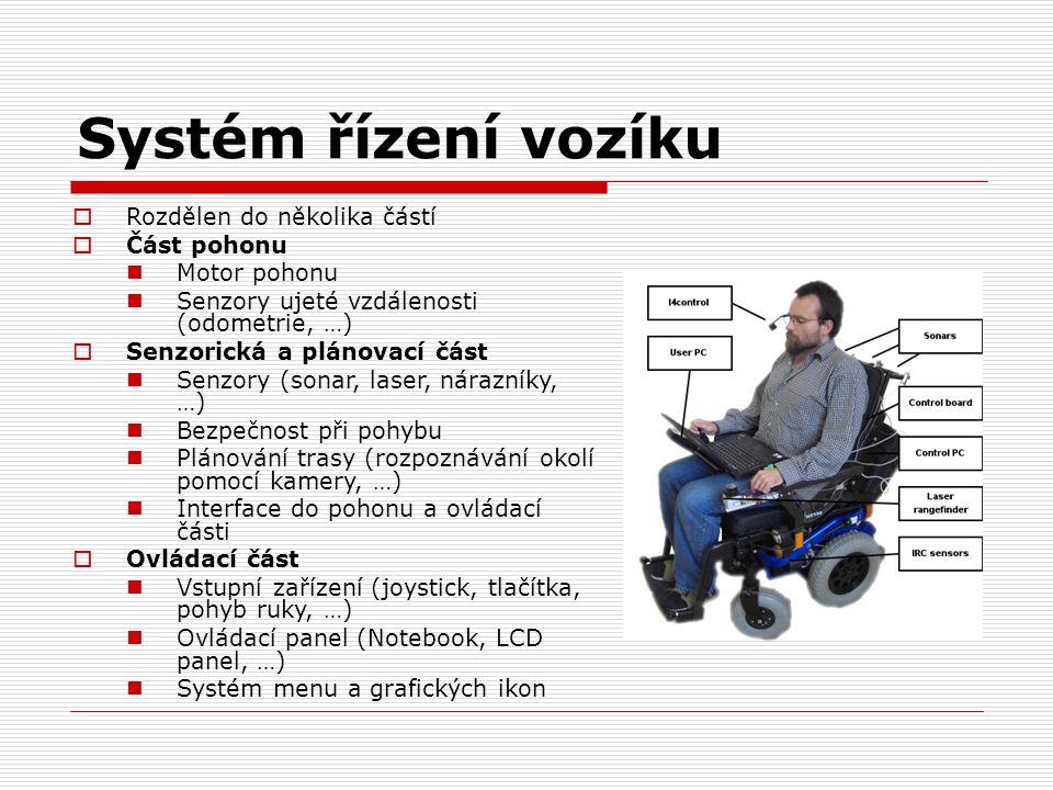 Systém řízení vozíku  Rozdělen do několika částí  Část pohonu Motor pohonu Senzory ujeté vzdálenosti (odometrie, …)  Senzorická a plánovací část Se