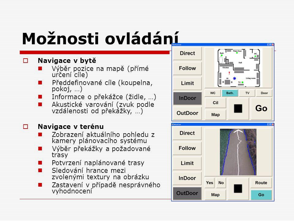 Možnosti ovládání  Navigace v bytě Výběr pozice na mapě (přímé určení cíle) Předdefinované cíle (koupelna, pokoj, …) Informace o překážce (židle, …)