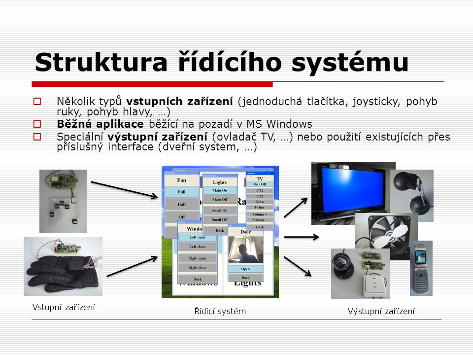 Struktura řídícího systému  Několik typů vstupních zařízení (jednoduchá tlačítka, joysticky, pohyb ruky, pohyb hlavy, …)  Běžná aplikace běžící na p