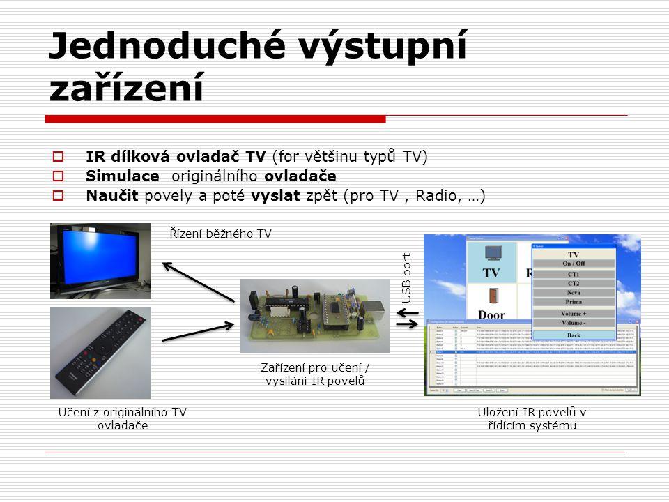 Jednoduché výstupní zařízení  IR dílková ovladač TV (for většinu typů TV)  Simulace originálního ovladače  Naučit povely a poté vyslat zpět (pro TV