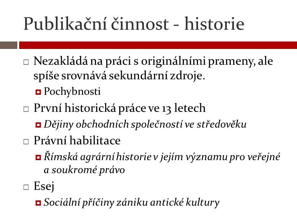 Publikační činnost - historie  Nezakládá na práci s originálními prameny, ale spíše srovnává sekundární zdroje.  Pochybnosti  První historická prác