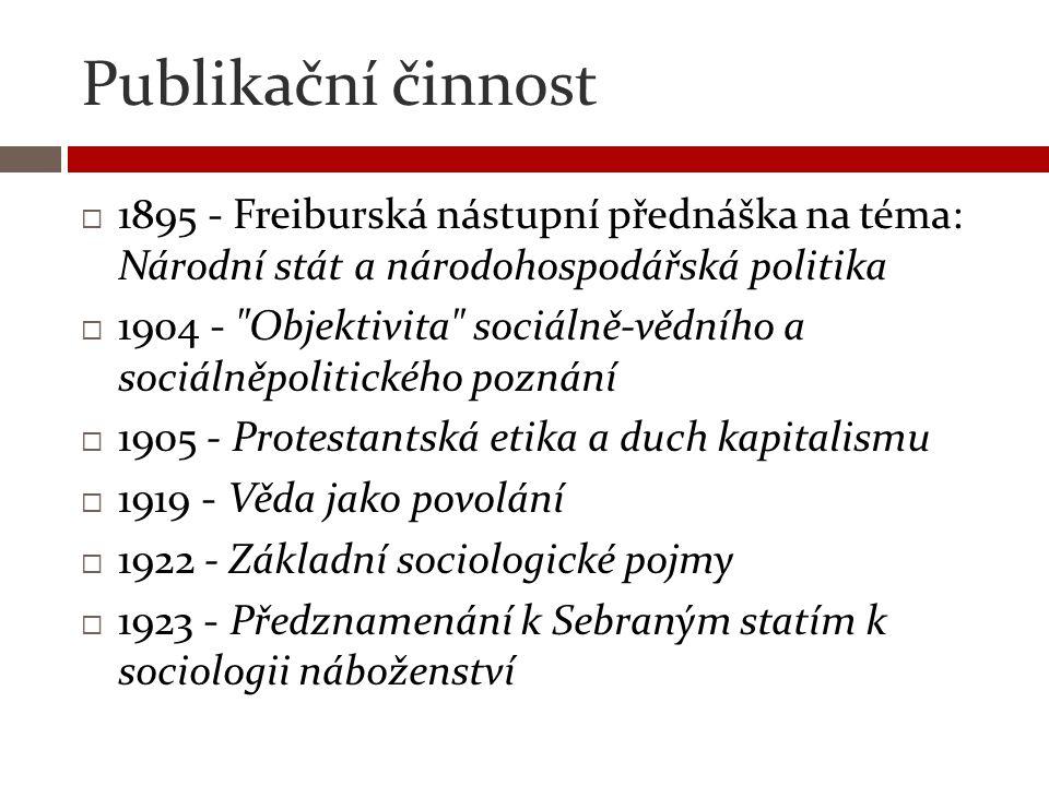 Publikační činnost  1895 - Freiburská nástupní přednáška na téma: Národní stát a národohospodářská politika  1904 -