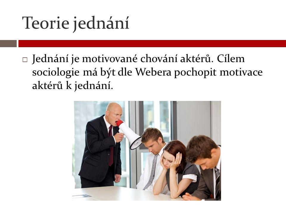 Teorie jednání  Jednání je motivované chování aktérů. Cílem sociologie má být dle Webera pochopit motivace aktérů k jednání.