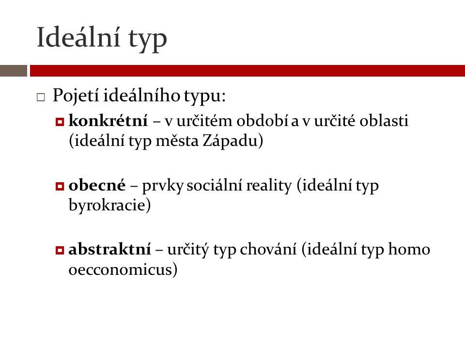Ideální typ  Pojetí ideálního typu:  konkrétní – v určitém období a v určité oblasti (ideální typ města Západu)  obecné – prvky sociální reality (i