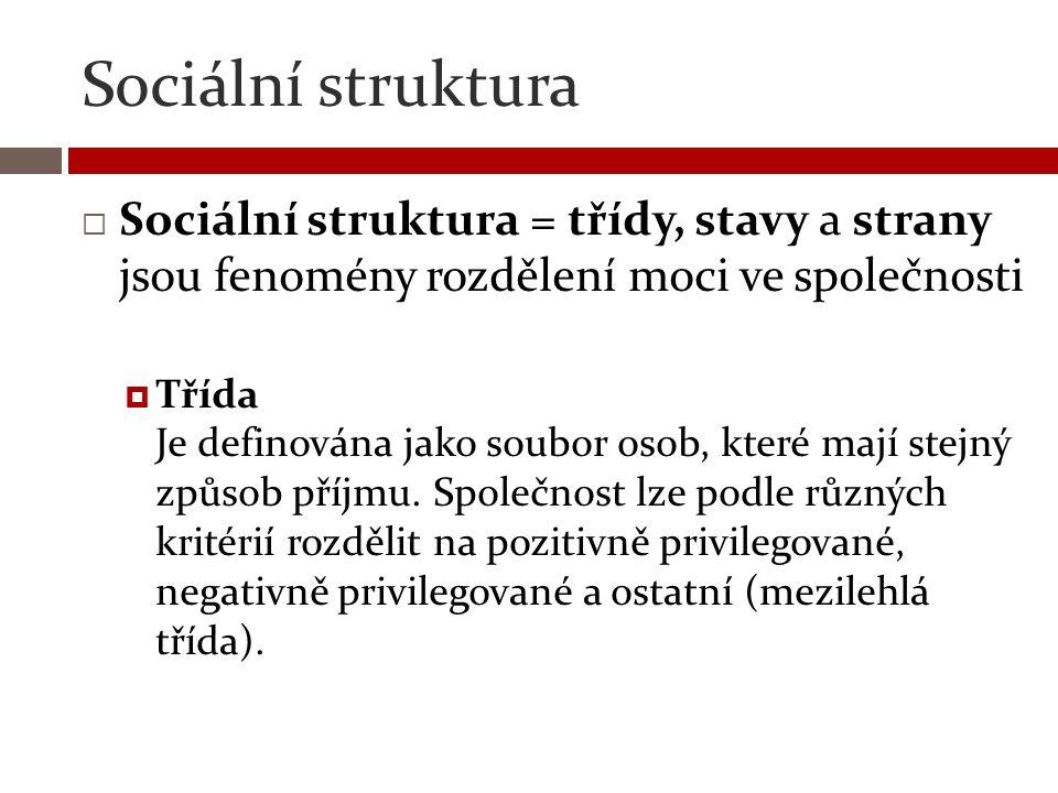 Sociální struktura  Sociální struktura = třídy, stavy a strany jsou fenomény rozdělení moci ve společnosti  Třída Je definována jako soubor osob, kt