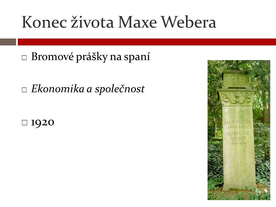 Konec života Maxe Webera  Bromové prášky na spaní  Ekonomika a společnost  1920
