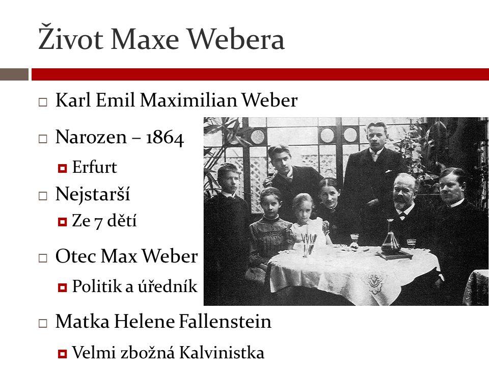 Život Maxe Webera  Karl Emil Maximilian Weber  Narozen – 1864  Erfurt  Nejstarší  Ze 7 dětí  Otec Max Weber  Politik a úředník  Matka Helene F