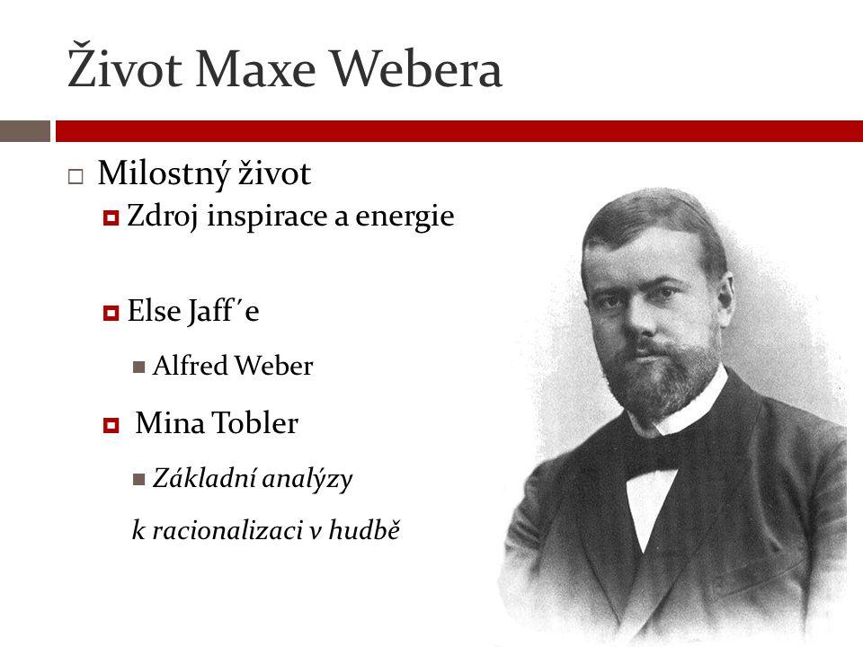 Život Maxe Webera  Uznávaný sociolog  Jeden z hlavních kritiků Karla Marxe  Vyučuje jako universitní profesor  Římské právo, historii  V začátcích si vydělává jako advokátní koncipient  Politik  Německá demokratická strana