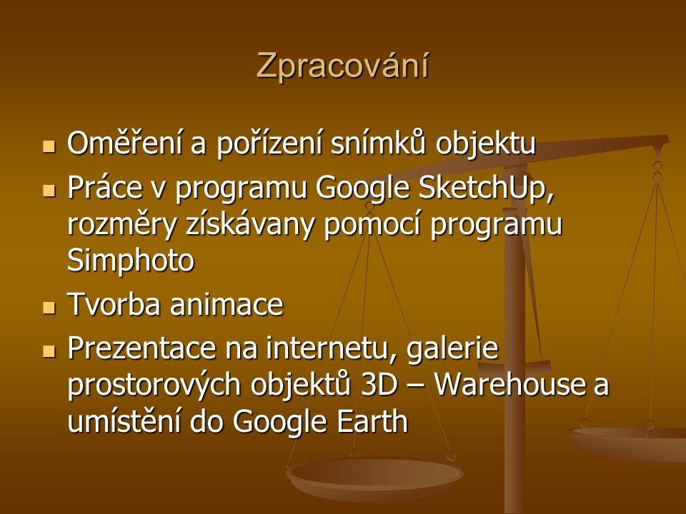Zpracování Oměření a pořízení snímků objektu Oměření a pořízení snímků objektu Práce v programu Google SketchUp, rozměry získávany pomocí programu Simphoto Práce v programu Google SketchUp, rozměry získávany pomocí programu Simphoto Tvorba animace Tvorba animace Prezentace na internetu, galerie prostorových objektů 3D – Warehouse a umístění do Google Earth Prezentace na internetu, galerie prostorových objektů 3D – Warehouse a umístění do Google Earth