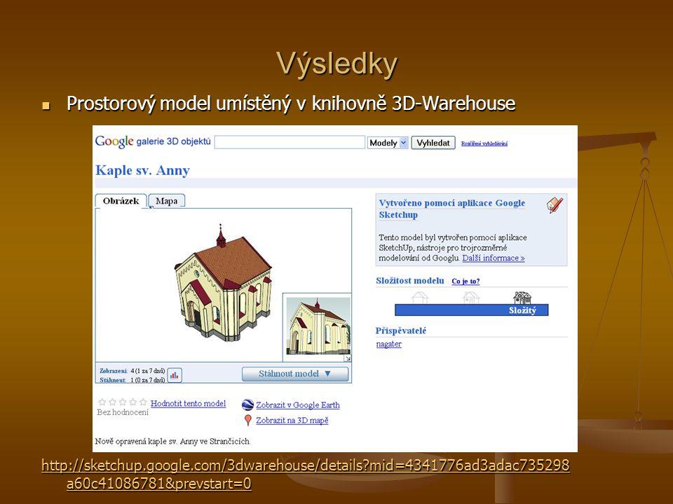Výsledky Prostorový model umístěný v knihovně 3D-Warehouse Prostorový model umístěný v knihovně 3D-Warehouse http://sketchup.google.com/3dwarehouse/de