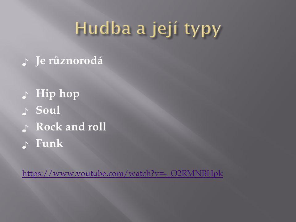 ♪ Je různorodá ♪ Hip hop ♪ Soul ♪ Rock and roll ♪ Funk https://www.youtube.com/watch?v=-_O2RMNBHpk