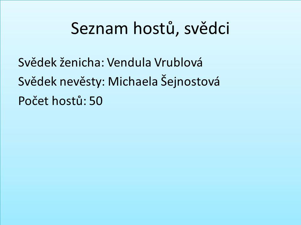Seznam hostů, svědci Svědek ženicha: Vendula Vrublová Svědek nevěsty: Michaela Šejnostová Počet hostů: 50