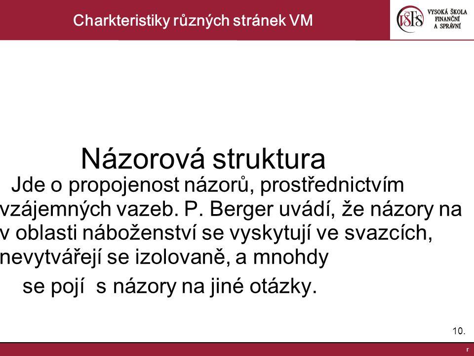 10. r Charkteristiky různých stránek VM Názorová struktura Jde o propojenost názorů, prostřednictvím vzájemných vazeb. P. Berger uvádí, že názory na v