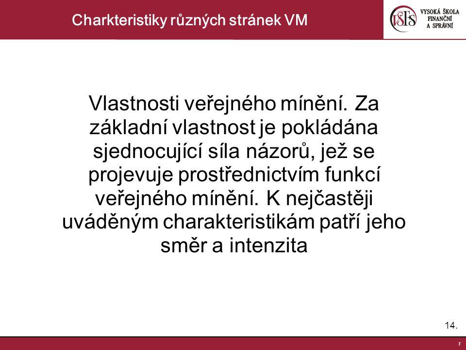 14. r Charkteristiky různých stránek VM Vlastnosti veřejného mínění.