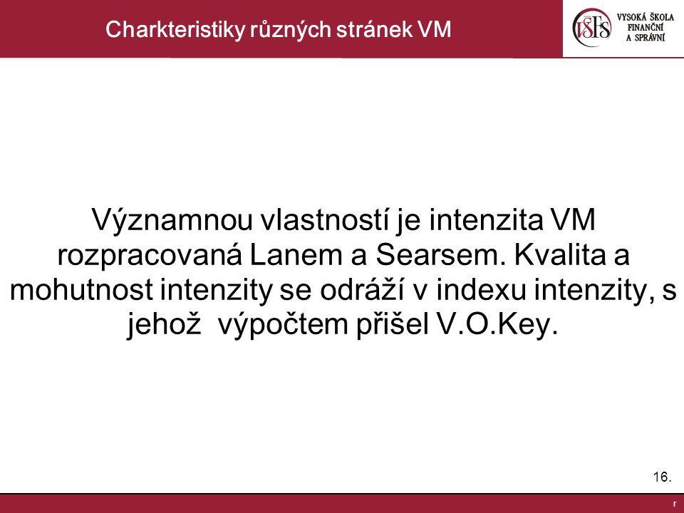 16. r Charkteristiky různých stránek VM Významnou vlastností je intenzita VM rozpracovaná Lanem a Searsem. Kvalita a mohutnost intenzity se odráží v i