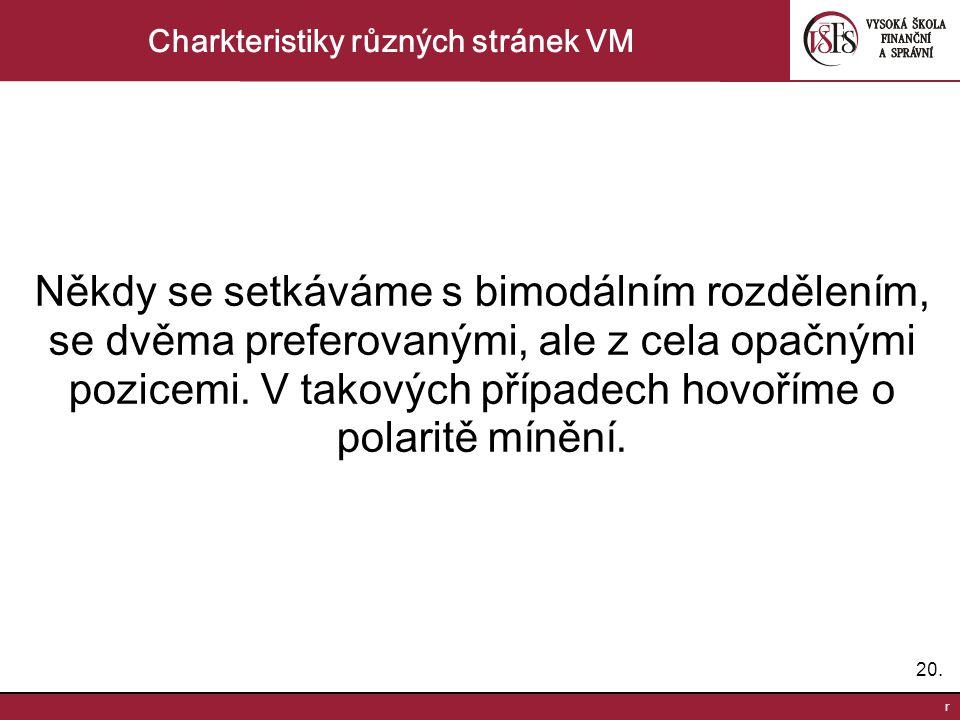 20. r Charkteristiky různých stránek VM Někdy se setkáváme s bimodálním rozdělením, se dvěma preferovanými, ale z cela opačnými pozicemi. V takových p