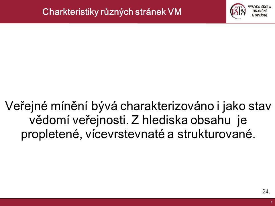 24. r Charkteristiky různých stránek VM Veřejné mínění bývá charakterizováno i jako stav vědomí veřejnosti. Z hlediska obsahu je propletené, vícevrste