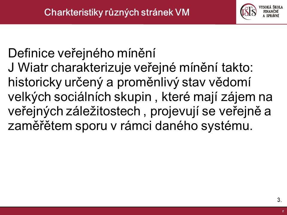 3.3. r Charkteristiky různých stránek VM Definice veřejného mínění J Wiatr charakterizuje veřejné mínění takto: historicky určený a proměnlivý stav vě